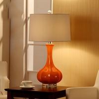 Luxury Fashion Orange Ceramic Table Lamp Luxury Bedroom Bedside Lamp With Crystal Base Decoration Lamp Abajur Led