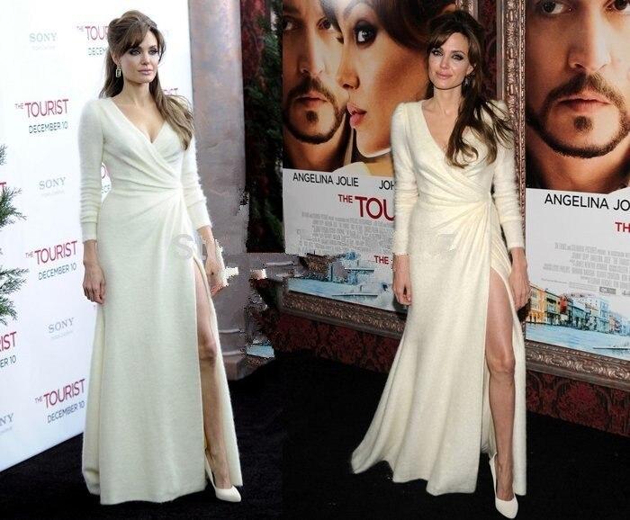 Full Sleeve Red Carpet Dress Deep V Neck Slit Style Evening Prom Party Gowns A Line Celebrity Dresses abiye elbise