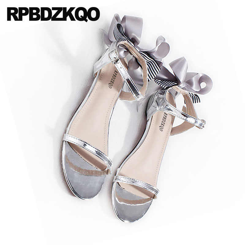 79cd853e4 Bow Double Strap Sandals 2018 Pumps Cute Casual Gold Block Low Heel Women  Silver Thick Shoes