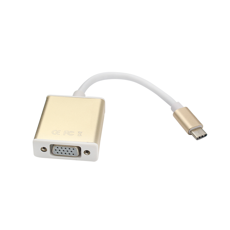 New Arrival USB 3.1 Type C to VGA Converter Adapter Gold Type C Connector for Macbook Computer Cable Connector type c usb 3 1 usb c male to vga female adapter cable converter for macbook 12 notebook computer video screen mirror to tv