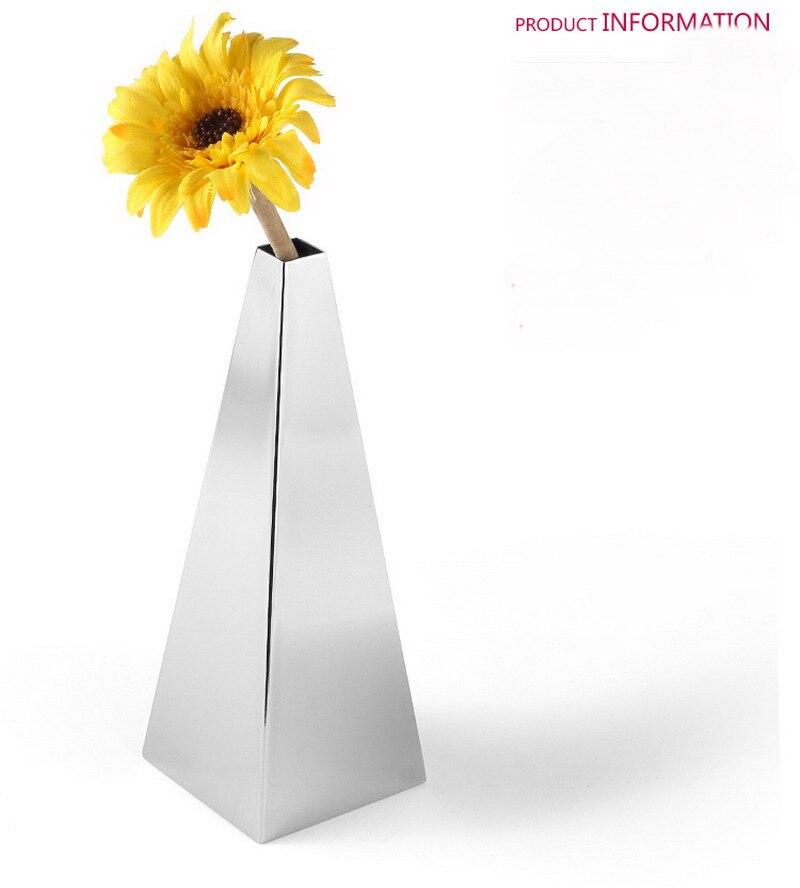 European modern metal vase Decoration stainless steel home jewelry model room decorative pyramid flower Vase