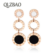 QLZBAO Hot Sale Rose Gold Earring 361l Stainless Steel Jewelry Fashion Roman Numerals Pendant Earrings For Women Wedding Gift(China)