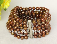 6row 8 7mm coffee pearls bracelet magnet clasp