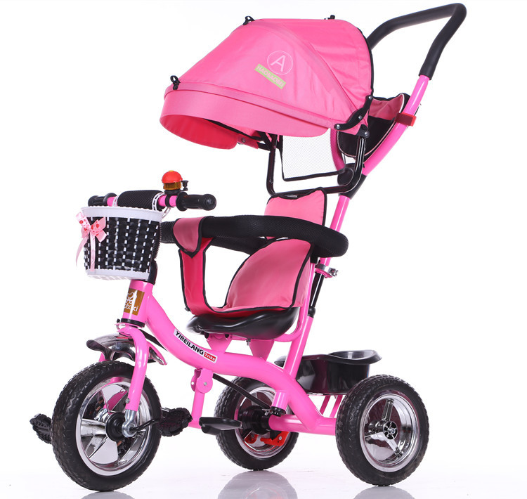 NEW 2017 with Umbrella New Shade Children Pedal Tricycle Baby Trolley Child Bike Inflatable Rubber Wheel Tire Stroller children s tricycle baby pedal childs vehicles children s toys