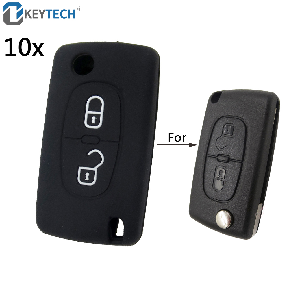 OkeyTech <font><b>Silicone</b></font> <font><b>Remote</b></font> Car <font><b>Key</b></font> Case <font><b>Key</b></font> Cover for <font><b>Peugeot</b></font> 208 207 3008 <font><b>308</b></font> 508 408 2008 407 307 206 For Citroen C4 C5 C3 C2 image