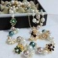 2017 новый Корейский Богемия двухместный многослойная Цветок Жемчужные Ожерелья жемчуг куб. см ювелирные изделия для женщин ювелирные изделия перлы длинные стиль ожерелье