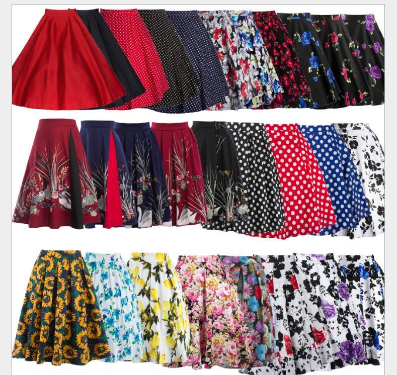 2017 Summer Women Vintage Retro Satin Floral Pleated Skirts Audrey Hepburn Style High Waist A-Line Tutu Midi Skirt