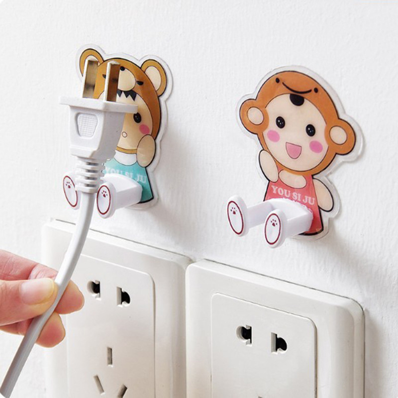 Power Plug Wall Hook Socket Holder Wall Adhesive Hanger Socket Storage Wall Hook Cute Wall Mount Key Holder