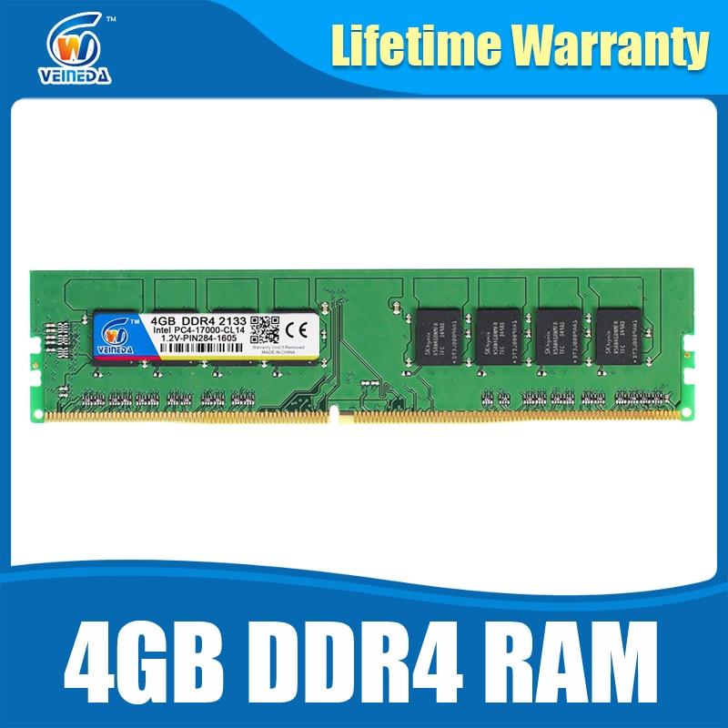 Brand Dimm Ram DDR4 4GB PC4-17000 Memory Ram ddr 4 2133 For Intel AMD DeskPC Mobo ddr4 4 gb 284pin Lifetime Warranty  цены