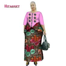 Hitarget 2019 New African Wax Print Clothes for Women Dashiki Traditional Cotton Top Skirt Set of 2 Piece Dashiki Dress WY2638