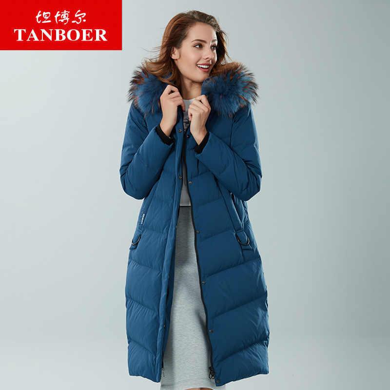 d07a182bd350a TANBOER/женский пуховик средней длины, пуховик на утином пуху, зимняя куртка  для мужчин