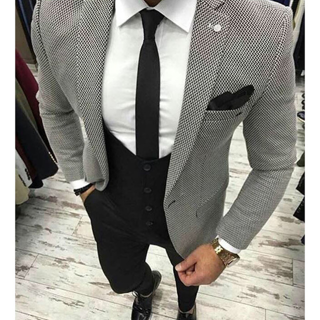 Houndstooth Fabric 2019 Men Suits For Wedding Groom Tuxedos 3 Pieces Jacket Black Pants Vest Latest Style Blazer Waistcoat(China)
