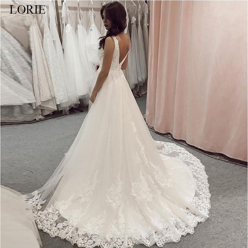 LORIE 2019 Elegant Lace Wedding Dresses V-neck Sleeveless White Ivory A-Line Backless Wedding Gowns Custom Vestido De Novia