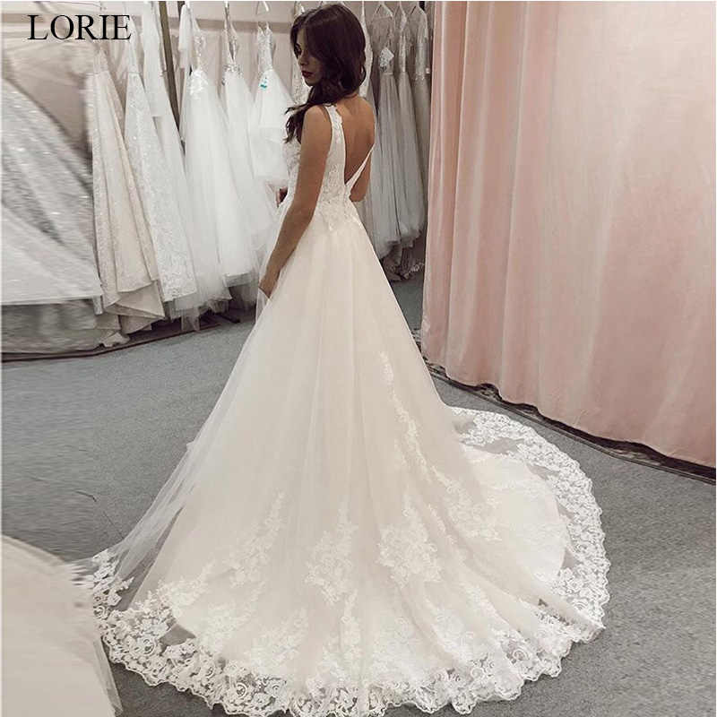 LORIE 2019 Elegant Lace Wedding Dresses V-neck Sleeveless White Ivory A-Line Backless Wedding Gowns Custom Vestido De Novia