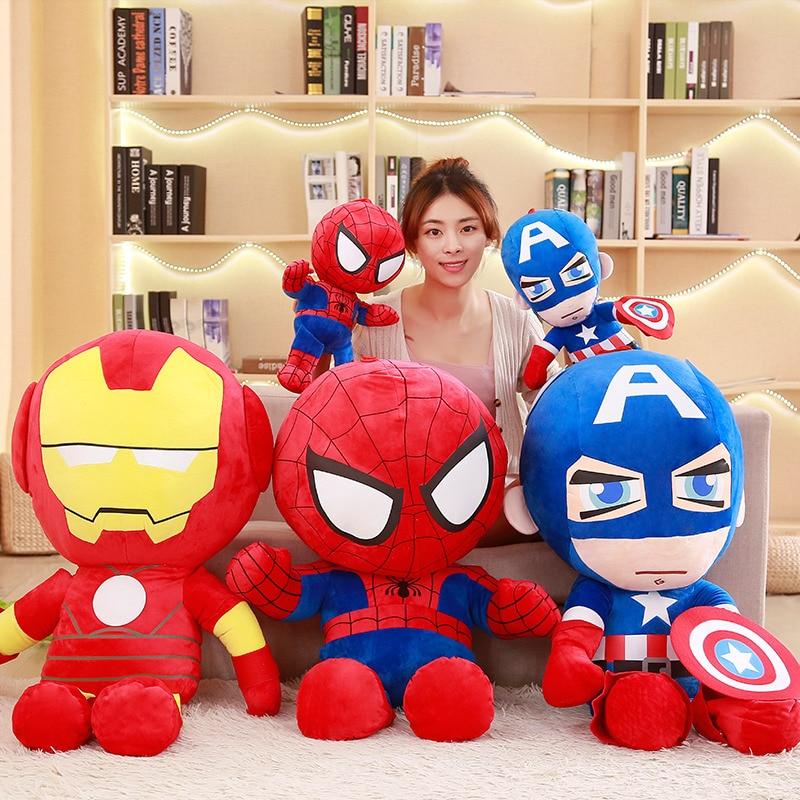 25/35/50cm Cartoon Cute Captain America Iron Man Spiderman Plush Toys The Avengers Movie Polular Dolls For Kids Gifts