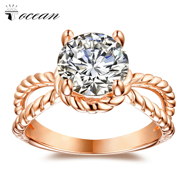 Tocean Rose Gold Color Fashion Wedding Rings for Women Round Smooth Retro Cute AAA Zircon Engagement Bijoux Bague Size 5-12 W050