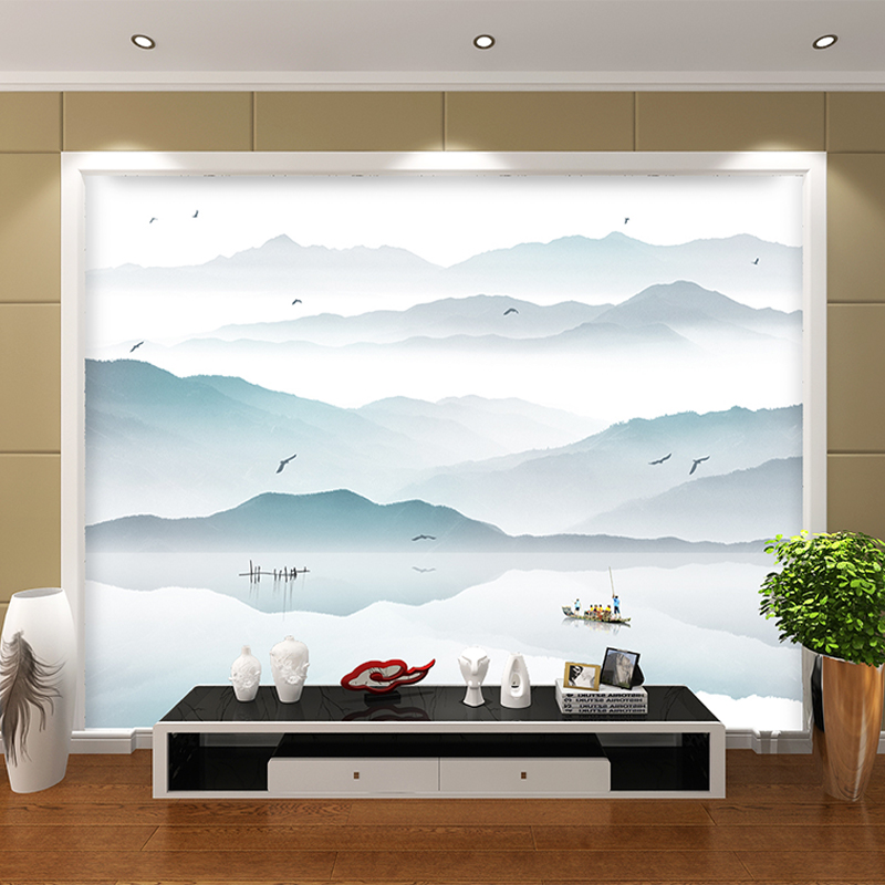 Customized photo wallpaper 3d wall murals wallpaper Ink painting landscape town fishing boat mural 3d TV background room wall book knowledge power channel creative 3d large mural wallpaper 3d bedroom living room tv backdrop painting wallpaper