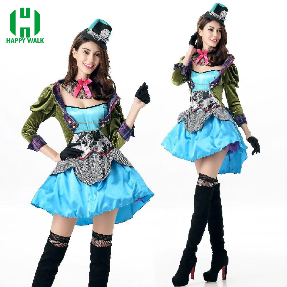 2019 Adult Alice In Wonderland Costume Womens Mad Hatter Fancy Dress Costume Outfit Halloween Costume Alice Tea Party Clothing