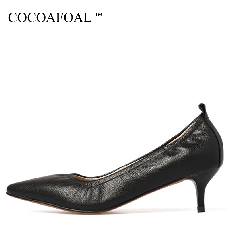 COCOAFOAL Woman Pointed Toe Pumps Pink Black Brown Fashion Sexy High Heels Shoes Snakeskin Genuine Leather Career Pumps 2017 cocoafoal woman pointed toe pumps pink black brown fashion sexy high heels shoes snakeskin genuine leather career pumps 2017