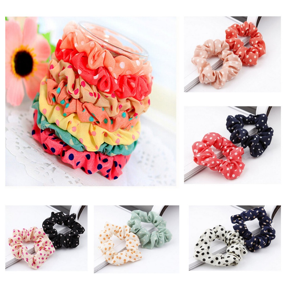 10pcs Lots Fashion Cute Sweet Girl Elastic Polka Dot Print Hair Band Ponytail Holder Accessories Headwear 10pcs sweet diy boutique bow headbands elastic head band children girl hair accessories headwear wholesale