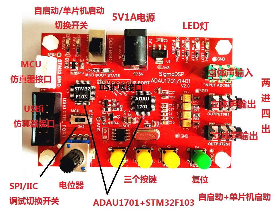ADAU1701 Development Board/ADAU1701+Single Chip Microcomputer Architecture