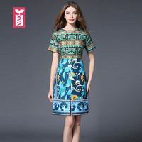 Top Quality Jacquard Totem Female Princess Party Dresses Womens Banquet Royal Flower Front Split Bohemian Vestidos