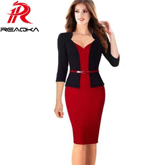 1db3c740e5 Fake Two-piece Womens Office Dress New Work Dresses 2018 Women Fashion  Elegant Patchwork Business Bodycon Sashes Dress
