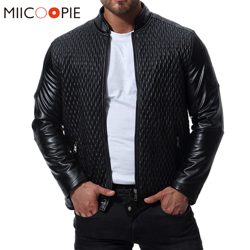 Spring Autumn Classic Men Motorcycle Leather Jackets Fashion Plaid PU Solid Outerwear Biker Leather Jacket Coat Plus Size S-XXXL