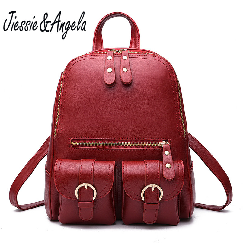 Jiessie Angela Fashion Brand Women Backpacks For Teenage Girls High Quality Shoulder Bag Female Zipper School