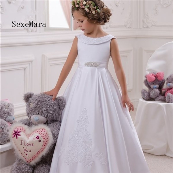 White Flower Girls Dresses 2018 Scoop Neck First Communion Dresses Back Bow Sweet Party Dress for Kids grey scoop neck y back crochet lace trim top