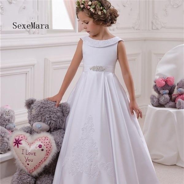 White Flower Girls Dresses 2018 Scoop Neck First Communion Dresses Back Bow Sweet Party Dress for Kids sweet sleeveless scoop neck bowknot design polka dot dress for women