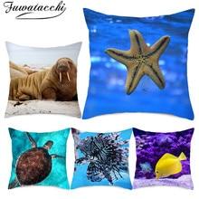Fuwatacchi Marine Life Cushion Cover Starfish Turtle Shark Pillow for Sofa Home Chair Decorative Pillows Jellyfish