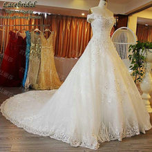 Luxury Ball Gown Lace Heavy Beaded Diamond Rhinestone Wedding Dresses 2016 Royal Church Long Bridal Gowns abito da sposa XW142