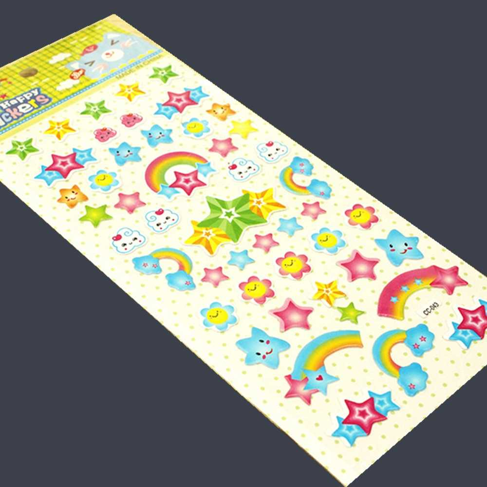 3 Sheet Star Rainbow Diary Decoration Kids 3D bubble Stickers Scrapbooking Baby Gift Children Toys  CC-043