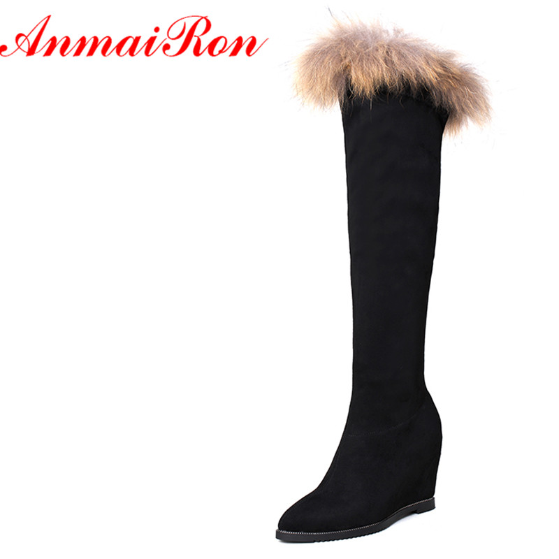 ANMAIRON Knee-high Boots for Women High Heels Round Toe Size 34-40 Motorcycle Boots Platform Shoes Zippers Solid Black Shoes enmayer high heels charms shoes woman classic black shoes round toe platform zippers knee high boots for women motorcycle boots