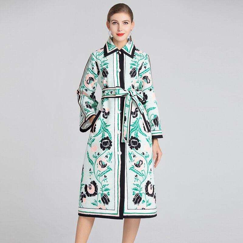 WQJGR Long Coat Women Turn down Collar Print Fashion Windbreaker High Street Long Sleeve Bohemia Womens