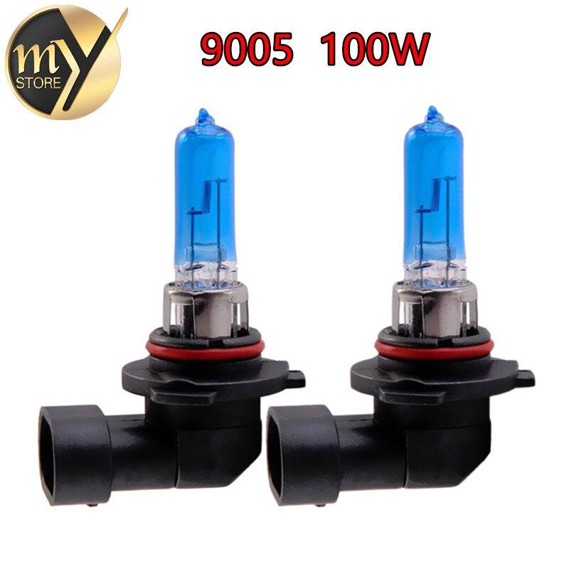 Галогенные лампы 9005 100 Вт HB3 100 Вт, супер белые фары, противотуманные фары, фонари для ходовых огней, источник света для парковки, 6000K, 12 В, дневн...