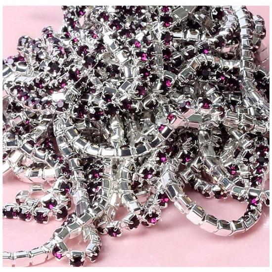 1 м/лот пришитые хрустальные стразы на цепочке SS6 SS8 SS10 SS12 Серебряная основа плотная коготь стеклянная отделка горного хрусталя DIY аксессуары - Цвет: Dark Purple
