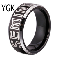 Free Shipping Customs Engraving Ring Hot Sales 8MM Black With Shiny Edges Seminoles Design Tungsten Wedding