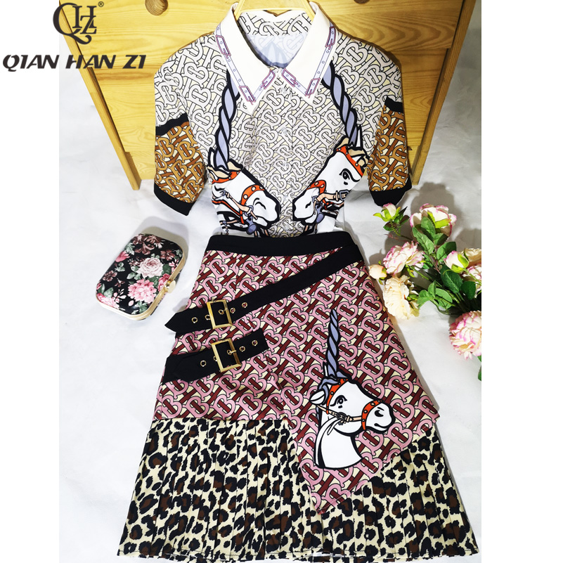 Qian Han Zi newest designer vintage suit set Women Short Sleeve fashion Shirt and Letter Leopard