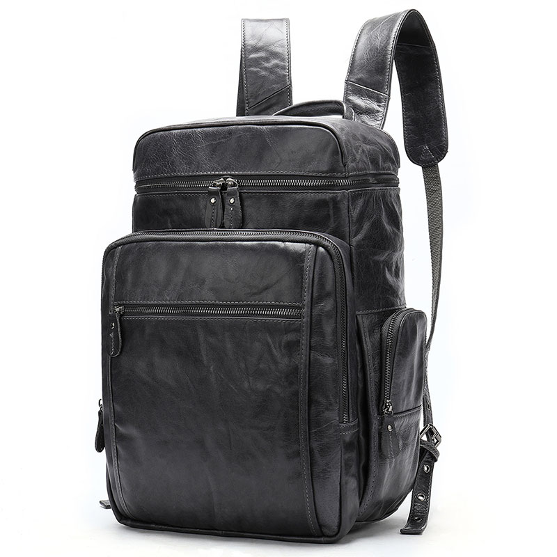 Men Backpack Waterproof Genuine Leather Laptop Backpack For Teenage Large Capacity Travel School Bag Fashion Big Bagpack Mochila