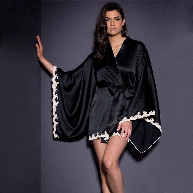 703c8eb6b4e63 Marque de luxe Chemise de Nuit Longue Sexy Chemises de Nuit En Soie Satin  De Nuit