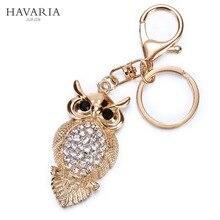 Marca de moda rhinestone owl MS HAVARIA chica mujeres del bolso llavero colgante calidad elegante Joyería del sostenedor del anillo llavero de Coches bbk-002