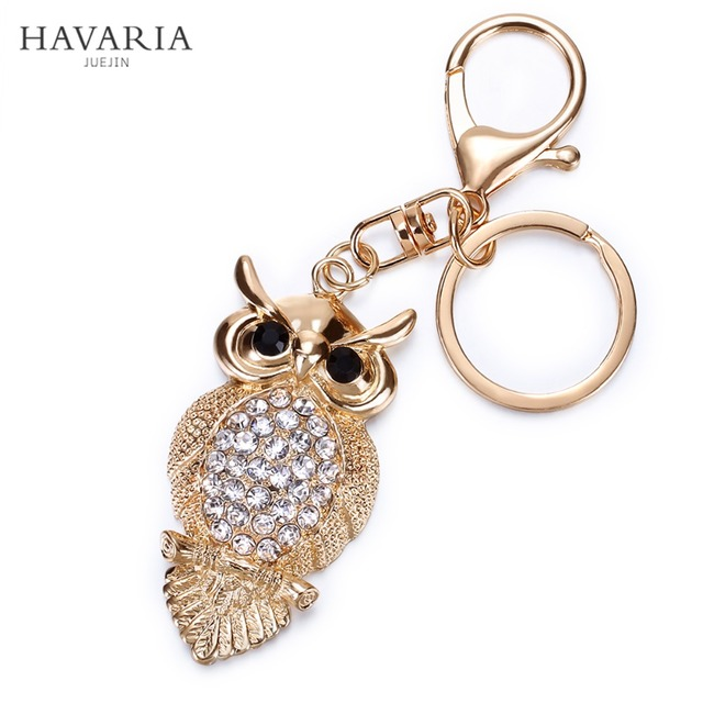 HAVARIA Rhinestone Owl Key Ring or Bag Charm