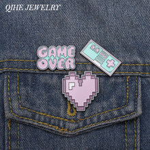 QIHE QH-GIOIELLI Pixel Art Smalto Spilli Pixel Giochi Risvolto Spilli Game Over Spille Vintage Retro Game Distintivi e Simboli Cuore Spilli Up(China)
