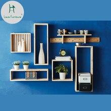 Модный комбинированный настенный креативный подвесной современный простой шкаф для украшения гостиной из цельного дерева, квадратная коробка