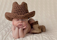 Free Shipping Baby Handmade Crochet Newborn Cap Cowboy Hat And Boots Snow Booties Suit Photography Props