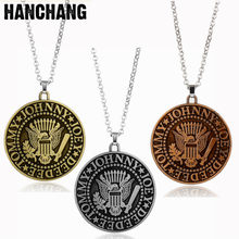 Rock N' Roll Band Heavy Necklace Ramones Johnny Joey Deedee Tommy Round Pendant Necklace Women Men Chocker Chain Jewelry Gift(China)