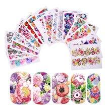 18 แผ่นBloomingดอกไม้Nail Art Decalsน้ำโอนสติ๊กเกอร์ตกแต่งเล็บผสมน้ำเล็บสติ๊กเกอร์LAWG273 290