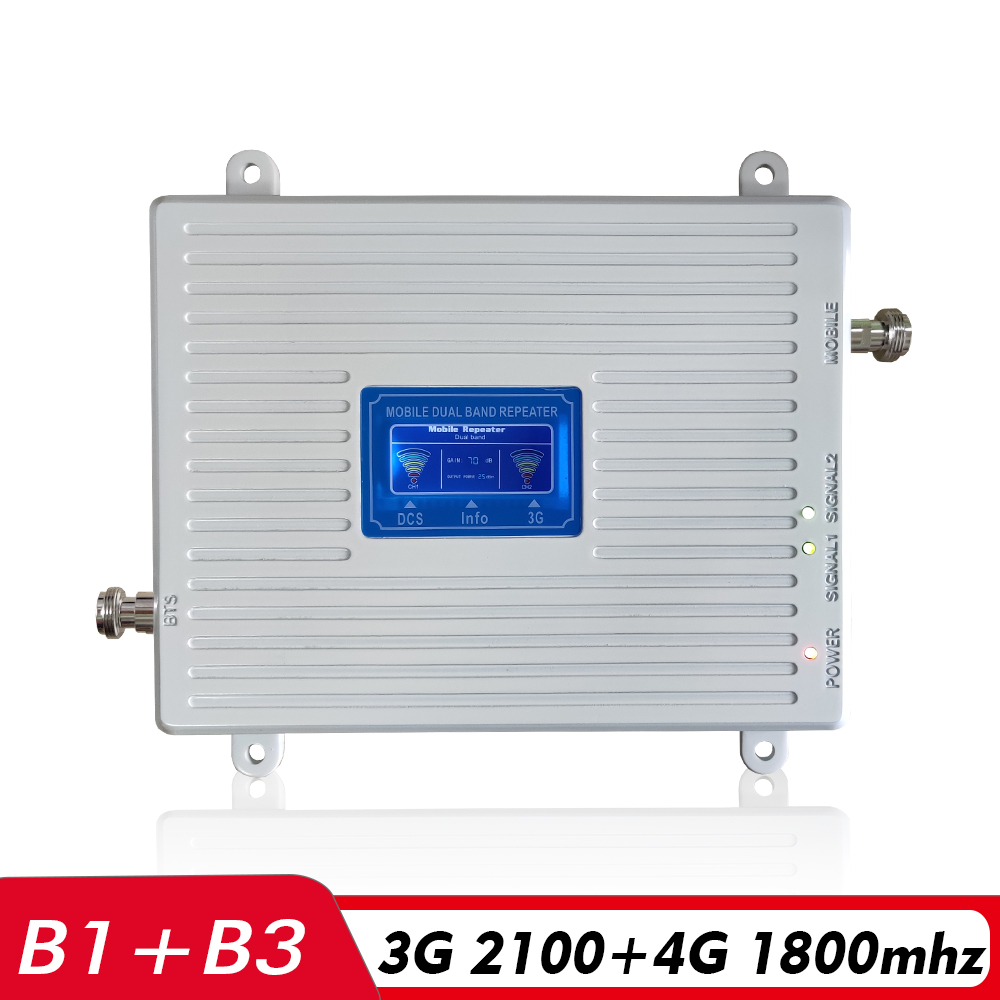 3G 4G Repeater Dual Band Booster DCS FDD LTE 1800 WCDMA UMTS 2100 Cell Phone Signal